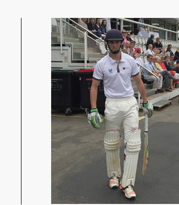 christina pierce's son Oskar opens the batting at Lords