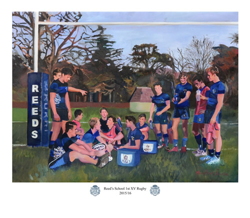 reeds rugby team - commissioned painting by christina pierce
