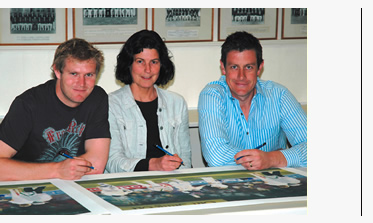 Ashley Giles and Matthew Hoggard with Christina Pierce