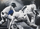 Action 12in x16in oil on canvas - painting by christina pierce, cricket artist