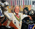 David English CBE 39in x 47in oil on canvas - painting by christina pierce, cricket artist