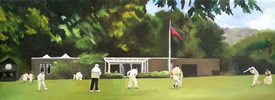 "Hampshire Hogs Pavilion oil on canvas 12"" x 30"" - painting by christina pierce, cricket artist"