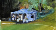 Hurlingham taverners 10in x 8in oil on board - painting by christina pierce, cricket artist