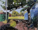 Hurlingham view 10in x 8in oil on board - painting by christina pierce, cricket artist