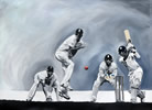 Strike - painting by christina pierce, cricket artist