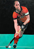 "Cardiff Hockey National League Daveed oil on canvas 36"" x 24"" commissioned painting by christina pierce, cricket artist"