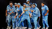Champions Trophy painting by Christina Pierce, cricket artist