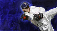 MS Dhoni Keeping 30in x 54in oil on canvas by christina pierce, cricket artist
