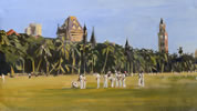Oval Maidan 2 12in x 8in oil on paper by christina pierce, cricket artist