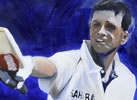 Raoul Dravid 50 12in x 18in oil on paper by christina pierce, cricket artist