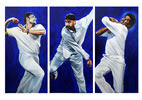 Triptych bowlers by christina pierce, cricket artist