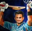 Virat Kohli 34in x 34in oil on canvas by christina pierce, cricket artist