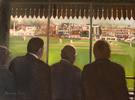 infamous four go to hove pavilion 24in x 36in oil on canvas - painting by christina pierce, cricket artist