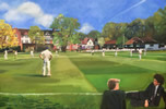"Reed's School oil on canvas 24"" x 36"" - painting by christina pierce, cricket artist"