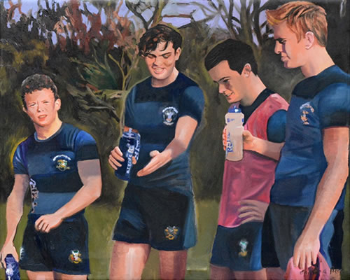 reeds rugby team crop - commissioned painting by christina pierce
