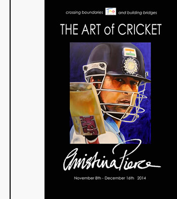 post for christina pierce exhibition of cricket paintings at the tao gallery, mumbai