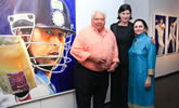 Kalpana Shah and Farokh Engineer at the tao gallery exhibition of paintings by christina pierce, cricket artist